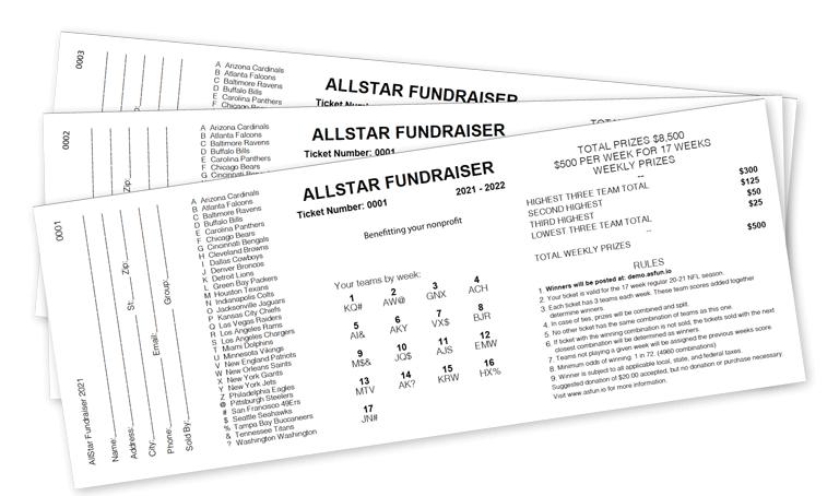 AllStar Fundraiser raffle tickets